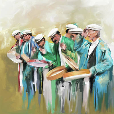 Painting - Painting 800 1 Hunzai Musicians by Mawra Tahreem