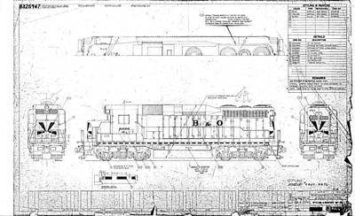 Drawing - Painting And Lettering Diagramgp30 by Baltimore and Ohio Railroad