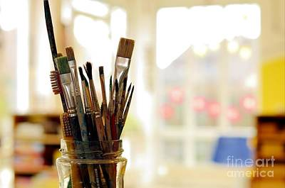Mixed Media - Painting Art Brushes In The Jar by Dt