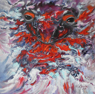 Painting Breathing Salamander In Abstract Style Original