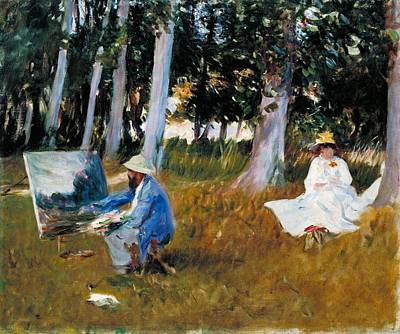 Monet Painting - Painting By The Edge Of A Wood by John Singer