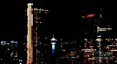 Photograph - Painting Calgary Bright At Night by Nina Silver