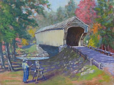 Painting - Painting Covered Bridge  by Ken Fiery
