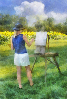 Digital Art - Painting Field Sunflowers by Francesa Miller