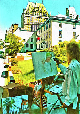 Photograph - Painting Le Chateau Frontenac by Thom Zehrfeld