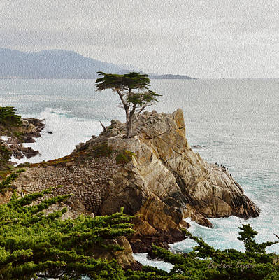 Carmel Valley Painting - Painting Lone Cypress Detail by Barbara Snyder