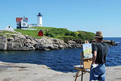 Painting Nubble Lighthouse Art Print