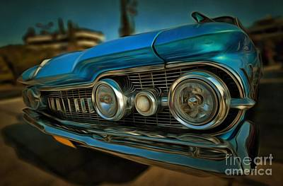 Antique Painting - Painting Of 1959 Oldsmobile Dynamic 88 by George Atsametakis