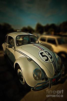Car Mascot Painting - Painting Of 1963 Volkswagen Herbie With Toy Car On Roof by George Atsametakis