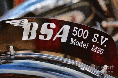 Bsa Photograph - Painting Of A 1940 Bsa M20 by George Atsametakis