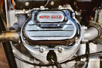 Badge Painting - Painting Of A 1972 Moto Guzzi V7 Cylinder Head by George Atsametakis