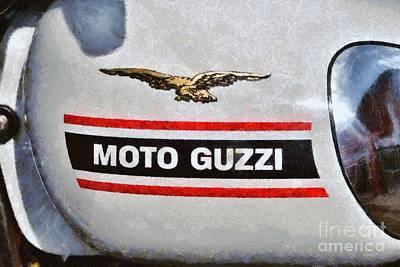 Logo Painting - Painting Of A 1972 Moto Guzzi V7 Fuel Tank by George Atsametakis
