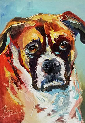 Wall Art - Painting - Painting Of A Boxer Breed Of Dog by Kim Guthrie