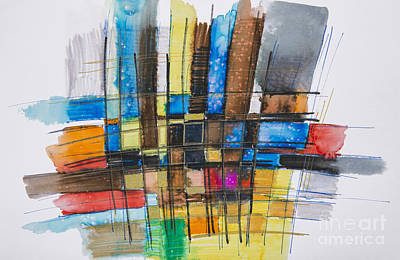 Photograph - Painting Of A Colourful Grid by Tara Thelen