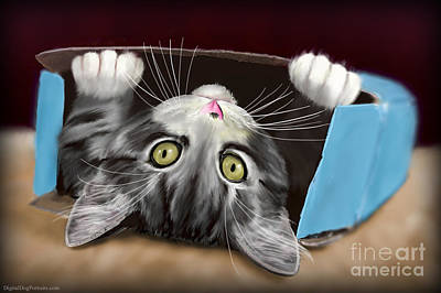 Animal Lover Digital Art - Painting Of A Cute Grey Kitten In An Blue Box by Idan  Badishi