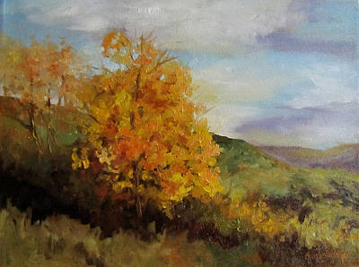 Painting Of A Golden Tree Art Print by Cheri Wollenberg
