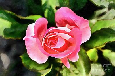Painting - Painting Of A Rose Bud by George Atsametakis