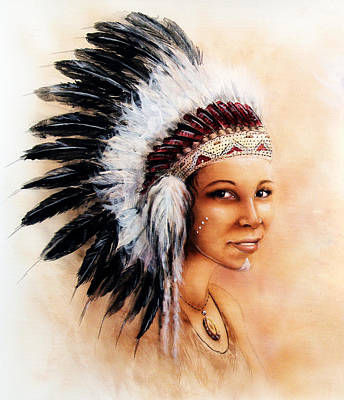 Native American Spirit Portrait Painting - Painting Of A Young Indian Woman Weaillustration Painting Young Indian Woman Wearing A Gorgeous Feat by Jozef Klopacka