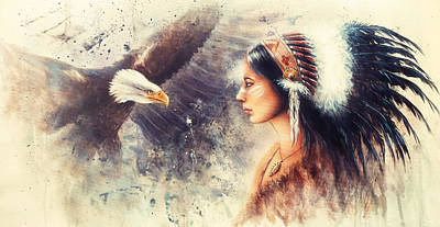Painting Of A Young Indian Woman Wearing A Gorgeous Feather Headdress. With An Image  Eagle Spirits  Art Print by Jozef Klopacka