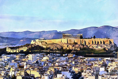 Painting - Painting Of Acropolis Of Athens And Theatre Of Herodus Atticus During Sunset by George Atsametakis