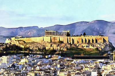 Painting - Painting Of Acropolis Of Athens During Sunset by George Atsametakis