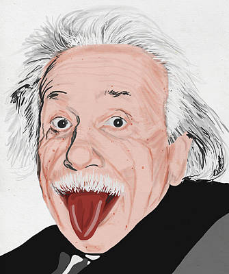 Portraits Royalty-Free and Rights-Managed Images - Painting Of Albert Einstein by Setsiri Silapasuwanchai