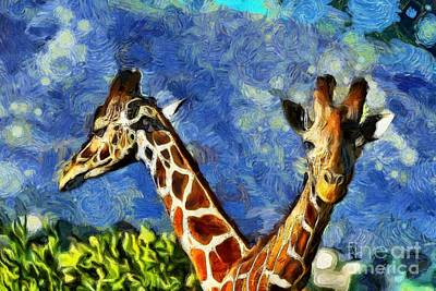 Painting - Painting Of Baringo Giraffes by George Atsametakis