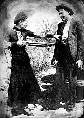 Most Popular Painting - Painting Of Bonnie And Clyde Mock Hold Up Black And White by Tony Rubino