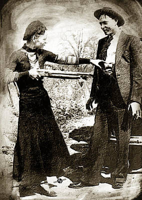 Most Popular Painting - Painting Of Bonnie And Clyde Mock Hold Up Sepia by Tony Rubino