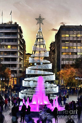 Painting - Painting Of Christmas Tree In Syntagma Square by George Atsametakis