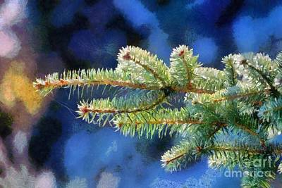 Painting - Painting Of Fir Tree Branch by George Atsametakis