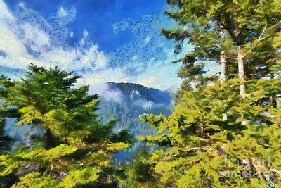Painting - Painting Of Fir Trees Forest by George Atsametakis