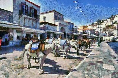 Painting - Painting Of Horses And Mules In Hydra Island by George Atsametakis