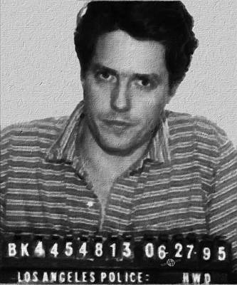 Police Art Painting - Painting Of Hugh Grant Mug Shot 1995 Black And White by Tony Rubino