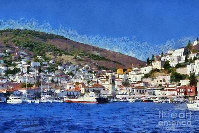 Painting - Painting Of Hydra Island by George Atsametakis