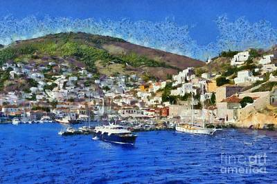 Painting - Painting Of Hydra Island I by George Atsametakis