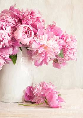 Painting Of Pink Peonies In Vase/digital Painting   Art Print by Sandra Cunningham