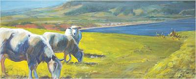 Painting - Painting Of Sheep On A Cliff Top by Mike Jory