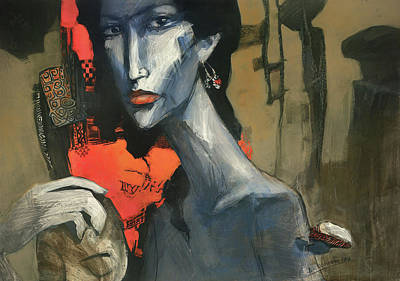 Mixed Media - Painting Of The Lady _ 1 by Behzad Sohrabi
