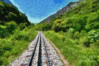Painting - Painting Of The Rack Railway In Vouraikos Gorge by George Atsametakis