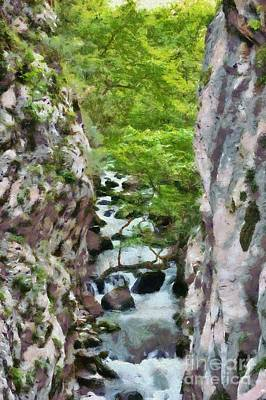 Painting - Painting Of Vouraikos Gorge by George Atsametakis