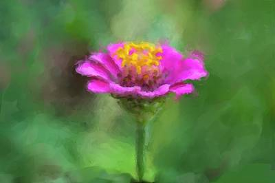 Painting - Painting Of Zinia Flower by Garvin Hunter