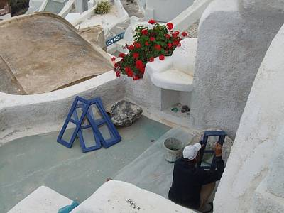 Painting Shutters In Santorini Greece Original by Nikki Borden