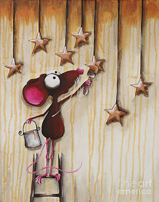 Mouse Painting - Painting Stars by Lucia Stewart