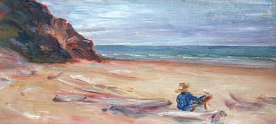 Painting - Painting The Coast - Scenic Landscape With Figure by Quin Sweetman