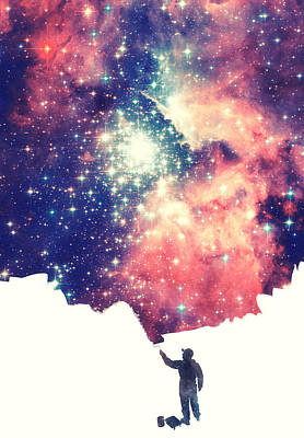 Painting The Universe Awsome Space Art Design Art Print by Philipp Rietz