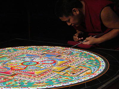 Sand Mandala Photograph - Painting With Sand by Elaine Weeks