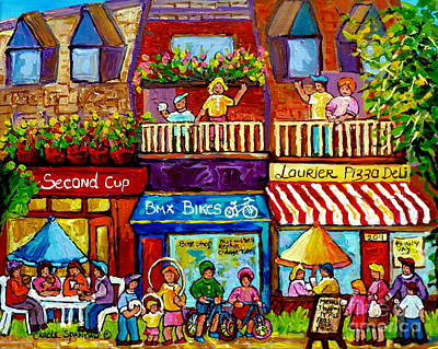 Store Fronts Painting - Paintings Of Plateau Mont Royal Laurier Street Shops Summer City Scenes Montreal Art Carole Spandau  by Carole Spandau