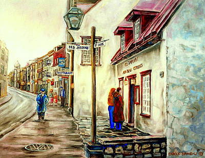 Old Store Front Painting - Paintings Of Quebec Landmarks Aux Anciens Canadiens Restaurant Rainy Morning October City Scene  by Carole Spandau