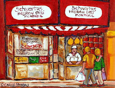 Painting - Paintings Of Schwartzs Delicatessen Famous Smoked Meat Restaurant Montreal Art Scenes by Carole Spandau